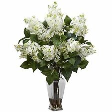 Nearly Natural 1256-WH Lilac Silk Flower Arrangement- White NEW