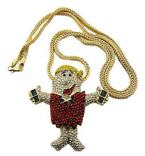 "ICED OUT HIP HOP DESIGN PENDANT & 36"" FRANCO CHAIN"
