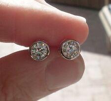FOREVER BRILLIANT Charles & Colvard  Moissanite Diamond Bezel Set Earrings 14K