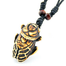 Cool Yak Bone Carving Cicada Pendant Amulet Necklace RH059