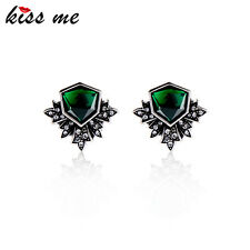 KISS ME Vintag Antique Silver Plated Green Stud Earrings Fashion Jewelry ed01392