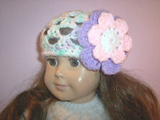 Hand Crochet Beanie Hat With Flower For The American Girl Doll