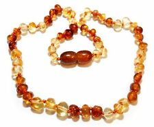 Genuine Baltic Amber Beads Baby Necklace Cognac Honey 12.6 - 13.4 in