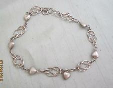 "HANDMADE STERLING SILVER PUFFY HEART & WOVEN KNOT 9 1/2"" ANKLET/ ANKLE BRACELET"