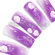 Nail Art Water Transfers Wraps Decals Purple Roses Leaves Flowers Floral H027
