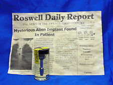 ALIEN IMPLANT ARTIFACT IN JAR W/BACK STORY ,AREA 51,SIDESHOW GAFF,PROP,UFO,MYTH