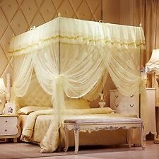 Mosquito Net Bed Canopy-Lace Luxury 4 Corner Square Princess Fly Screen, #3P2