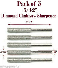 "5 Pc 5/32"" Diamond Chainsaw Sharpener Burr Stone Round File Fits 1453 Dremel"