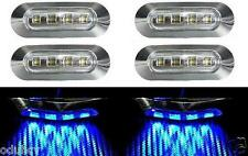 6x 4 LED Lateral Azul Bisel Cromado Luz De Señalización para Camiones Autobuses