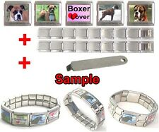 Boxer Dog 18mm Mega Stainless Steel Italian Charms Links Bracelet + Tool HG26