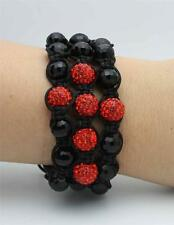 Macrame Beaded Cross Bracelet With Black Crystal And Red Alloy shaping a Cross
