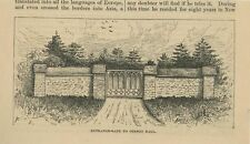 ANTIQUE ENTRANCE GATE LANDSCAPE TO OTSEGO HALL COOPERSTOWN NY SMALL OLD PRINT