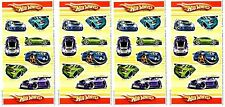 4 Sheets HOT WHEELS CARS Turbo Race Cars Hot Rods Scrapbook Stickers!