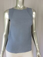 GAP S 100% Cotton Sleel Blue Boat Neck Pullover Ribbed Horizontally Sweater Vest