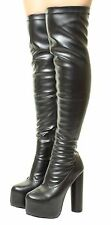 Sexy Over The Knee concealed Platform Thigh High Heel Stretch Wide Calf boots