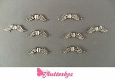 8 x Silver Plated Angel Fairy Wings Spacer Bead Charm 22mm, Jewellery Making,