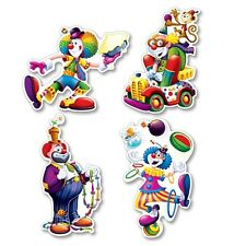 4 Silly Circus CLOWN Die-cut CUTOUT Decorations*CARNIVAL*Circus B-DAY PARTY