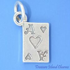 ACE OF HEARTS PLAYING CARD GAMBLING 3D .925 Solid Sterling Silver Charm
