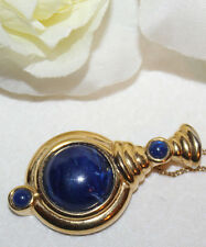 STRIKING TRIFARI TM SIGNED LAPIS PENDANT EXCELLENT WITH NO WEAR-CHAIN UNSIGNED