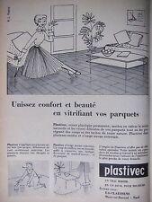 PUBLICITÉ 1956 VERNIS PLASTIVEC UN VRAI MIROIR Ets CLAESSENS - ADVERTISING