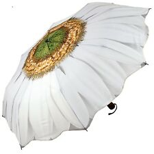 Galleria New White Daisy Floral Automatic Open Close Folding Umbrella Gift