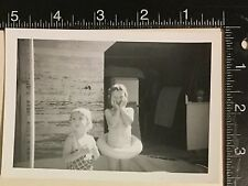 Vintage Photograph Two little girls pose 1950s