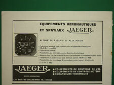 9/1968 PUB JAEGER AERONAUTIQUE ALTIMETRE ALTICODEUR ORIGINAL FRENCH AD