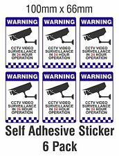 6 PACK Warning CCTV Security Surveillance Camera Decal Sticker Sign 66mmx100mm