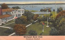 A75/ Charlestown Maryland Md Postcard Linen Wellwood Yacht Club Boats