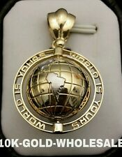 NEW 9.5GR.10K YELLOW GOLD WORLD IS YOURS SPINING EARTH GLOBE PENDANT CHARM 4410