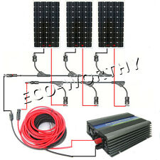COMPLETE KIT: 3*150W Mono Solar Panel W/ 500W Grid Tie Inverter 12V Home Po