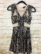 Top Shop Nude Black Skater Dress Size 2