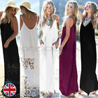 UK Womens White Boho Maxi Long Summer Beach Sun Dress Lace Sleeveless Kaftan