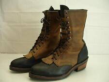 mens 9 EE Hathorn Hi-Line By White's Black Tan Leather Smoke Jumper Boots Packer