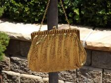 WHITING & DAVIS Gold Metallic Chain Mail Small Evening Handbag