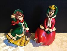 2 Vintage ATLANTIC MOLD Christmas Carolers_1960's Hand-Painted Ceramic Figures