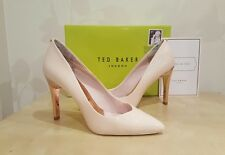 BNIB TED BAKER COSSAY NUDE PINK LEATHER STILETTO HEELS SHOES SIZE UK 7 6.5 EU 40