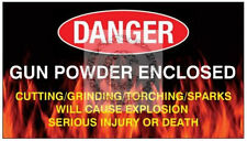 "Gun Black Powder Warning Magnet*** Safe Label Burglars 3.43x1.93"" buy 3 get  1"