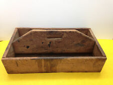Large Primitive Wood Handled Tool Caddy Box 2 Section Wooden Garden Shed {185}