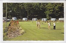 POSTCARD FLOWERS BROOK PUTTING GREEN, VENTNOR, ISLE OF WIGHT. OLD CARAVANS