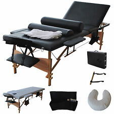 "3 Fold 84""L Portable Massage Table Facial Bed W/2 Bolster+Sheet+Cradle Cove"