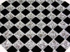 Glasmosaik Mosaik Fliesen Klarglas spiegel chrom silber schwarz Bad Dusche Pool
