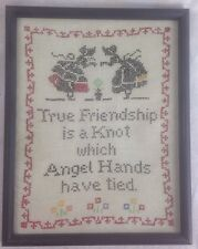 VINTAGE WOOD FRAMED CROSS STITCH FRIENDSHIP SAMPLER