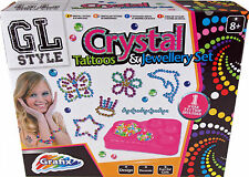 Girls Crystal Temporary Tattoos & Jewellery Making Beads Craft Activity Set Kit