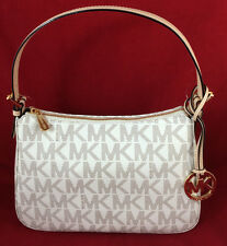 New MICHAEL KORS  VANILLA MK SIGNATURE TOP ZIP JET SET SM TOTE HANDBAG PURSE BAG