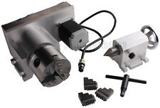 CNC F Style A-Axis, 4th-Axis, Router Rotational Rotary Axis 3-Jaw 80mm+Tailstock