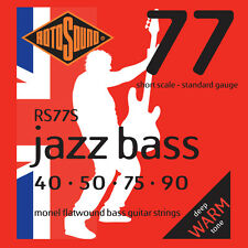 ROTOSOUND RS77S JAZZ BASS FLATWOUND BASS STRINGS, SHORT SCALE, STANDARD 4, 40-90
