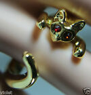 Cute cat shaped ring Gold with red eyes NEW adjustable open ring BEST QUALITY