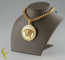 "Versace Gold-Plated Medusa Head Pendant w/ 24"" Thick Box Chain Retail = $995"