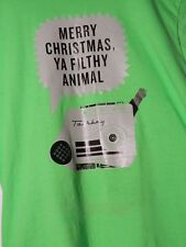 Talkboy Home Alone Merry Xmas Ya Filthy Animal Neon Green Cotton T shirt Large L